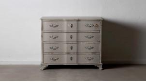 Commode quatre tiroirs en bois de sapin, finition gris plomb vieilli, ambiance classique, 104cm