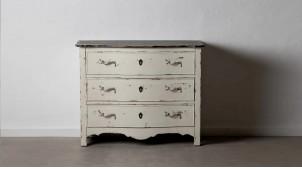 Commode trois tiroirs en bois de sapin, finition blanc antique décapé et vieux charbon, ambiance classique, 100cm