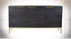 Buffet à 3 portes de style contemporain en bois de manguier finition dorée et noir charbon, 145cm