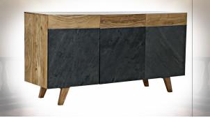 Buffet à 3 portes en bois d'acacia finition noir charbon et naturelle ambiance rétro, 145cm