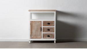 Meuble d'appoint en bois de sapin, une porte et trois tiroirs, finition naturelle et blanchie, ambiance campagne, 95cm