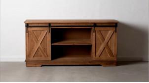 Buffet en bois 2 portes coulissantes, ambiance rustique bois brut et ferrures charbon, 148cm