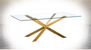 Table de salle à manger en verre et métal, piètement croisé chromé doré, ambiance design épuré, 200cm