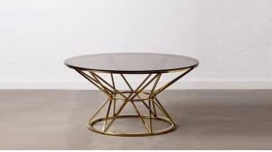 Table basse en acier doré et verre teinté, forme ronde, ambiance contemporaine épurée, Ø90cm