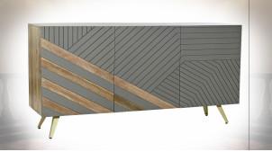 Buffet à 3 portes de style moderne en bois de manguier finition naturelle et gris clair, 145cm