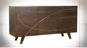 Buffet à 3 portes en bois d'acacia finition brun foncé ambiance moderne, 145cm