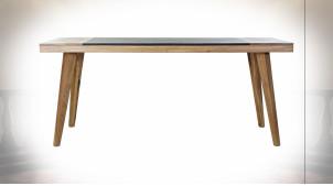 Table en acacia finition naturelle et noir charbon de style rétro, 180cm
