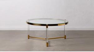 Table basse en acier inoxidable et en verre trempé, finition doré chromé, ambiance design moderne, Ø90cm