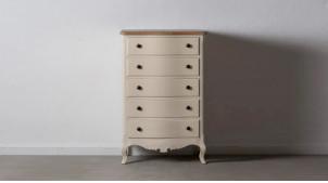 Chiffonnier à cinq tiroirs, en bois de pin finition crème et naturelle, ambiance campagne, 103cm