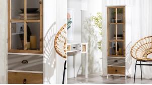 Vitrine en colonne une porte et deux tiroirs, en bois de sapin finition tricolore, ambiance bord de mer moderne, 160cm