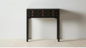 Console à six tiroirs, en bois de sapin finition noir charbon et boutons dorés en métal effet laiton, 85cm