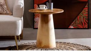 Table d'appoint ronde en bois de suar massif, ambiance tronc sculpté brut naturel, Ø50cm