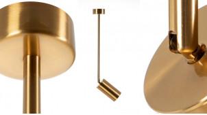 Luminaire spot en métal effet laiton doré, barre de 30 cm, ambiance moderne