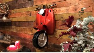 Roue avant et guidon de scooter en métal, déco ambiance motors, finition rouge métallisé, 71cm