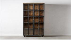 Grande vitrine en bois finition charbon vieilli, deux portes et quatre étagères, ambiance vintage, 194cm