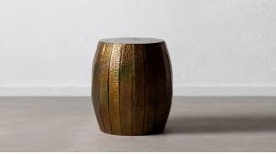 Table d'appoint en métal effet bosselé, finition dorée avec reflets bronze effet irisé, Ø49cm