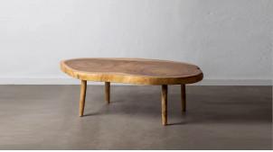 Grande table basse en bois de de suar massif, finition naturelle, modèle unique, 100/140cm