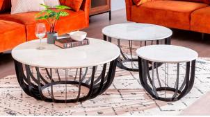 Table basse ronde en métal charbon et plateau en marbre blanc, ambiance chic épurée, Ø70cm