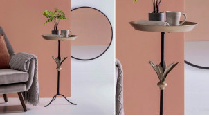 Table haute d'appoint en métal de forme ronde, finition dorée et noir charbon, ambiance chic, 77cm