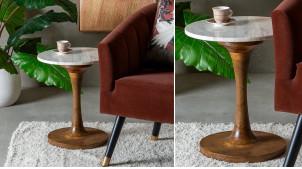 Table d'appoint ronde en bois de manguier massif et marbre blanc, ambiance riche belles matières, Ø40cm