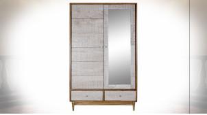 Armoire en bois d'acacia finition naturelle, façades de portes en miroir et motifs géométriques ambiance Boho, 195cm