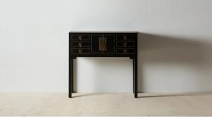 Console asiatique en bois de sapin, six tiroirs et deux portes, fermoir effet laiton doré, 95cm
