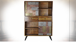 Vaisselier à 2 tiroirs en bois d'acacia finition brun foncé, ornements cuivrés et argentés ambiance ethnique, 169cm