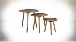 Tables basses en rotin et bois de sapin, série de trois, rondes finitions claires naturelles, Ø60cm