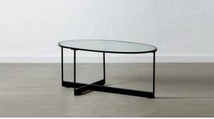 Table basse elliptique en métal et verre épais, ambiance moderne épuré, 90cm