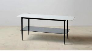 Meuble TV contemporain en métal et verre effet marbre blanc, ambiance épurée, 120cm