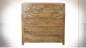 Commode à 8 tiroirs en bois d'acacia finition naturelle et poignées dorées ambiance chalet, 110cm