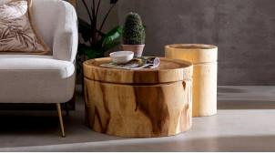 Table d'appoint tronc d'arbre en bois de suar massif, finition naturelle, Ø70cm