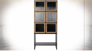Grand vaisselier à 3 niveaux en métal noir et bois finition naturelle ambiance industrielle, 180cm