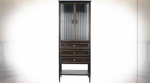 Vitrine à 3 tiroirs en métal finition noire et cuivre ambiance atelier rétro, 160cm