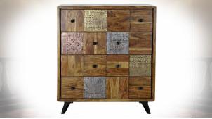 Commode à 4 tiroirs en bois d'acacia finition brun foncé ambiance ethnique, 100cm