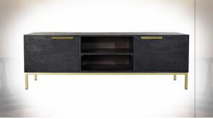 Meuble TV de style contemporain en bois de manguier finition noire et dorée, 147cm