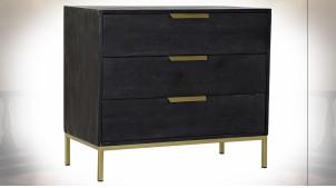 Commode à 3 tiroirs en bois de manguier finition noire et dorée ambiance moderne, 87cm