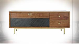 Meuble TV de style rétro en bois d'acacia finition brun clair et poignées dorées, 130cm