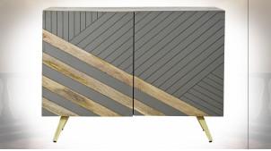Buffet 2 portes en bois de manguier finition grise et naturelle ambiance moderne, 96cm