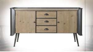 Buffet en bois finition naturelle et métal noir ambiance industrielle, 145cm