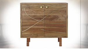 Buffet 2 portes en bois d'acacia finition chêne clair, poignées dorées de style contemporain, 80cm