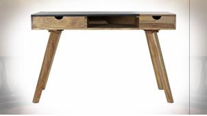 Bureau de style contemporain en bois d'acacia finition naturelle et noire, 120cm