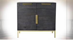 Buffet en métal doré et bois de manguier finition noir charbon de style contemporain, 80cm