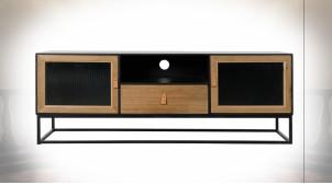 Meuble TV à 2 portes en métal noir et bois finition naturelle de style atelier, 140cm