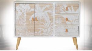 Buffet blanc en bois et bambou, façades de portes avec motifs de palmiers ambiance tropicale, 107cm