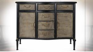 Buffet en métal finition noire et reflets cuivrés, façades de portes esprit cannage de rotin ambiance classique, 101cm