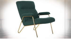 Fauteuil de style rétro chic en polyester finition vert foncé et métal doré, 90cm