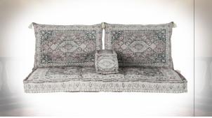 Ensemble de coussins pour canapé en coton finition vieillie ambiance orientale, 155cm