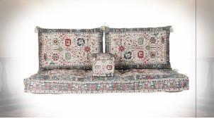 Ensemble de coussins en coton de style oriental aux motifs fleuris colorés, 155cm