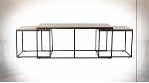 Table basse gigogne en métal noir et plateaux en bois finition brun foncé ambiance moderne, 122.5cm
